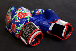 "InFightStyle ""Roses"" Muay Thai Boxing Gloves - Blue - InFightStyle Muay Thai Gear, Boxing Gloves"