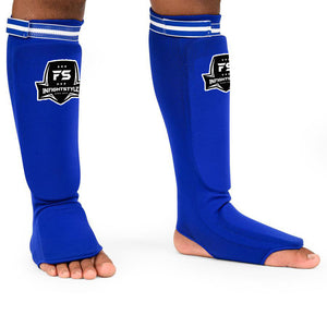 Infightstyle Combat Sport Muay Thai Washable Soft Shin Guards - One Size - Adult- One Size - Blue