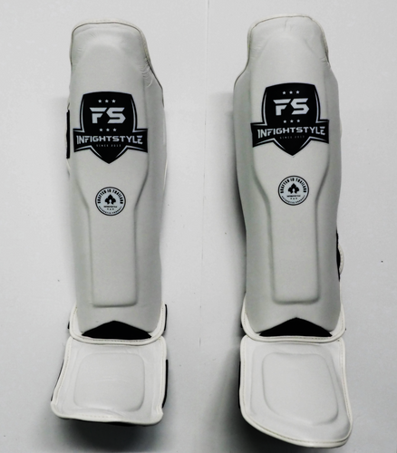 InFightstyle Combat Sport Muay Thai Shin Guards - WHITE