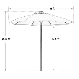 SORARA Outdoor 9 ft Patio Umbrella Sunbrella Canopy Solar Powered 64 LED Light with USB Charger Automatic Opening Market Table Umbrella, 8 Ribs