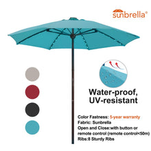 Load image into Gallery viewer, SORARA Outdoor 9 ft Patio Umbrella Sunbrella Canopy Solar Powered 64 LED Light with USB Charger Automatic Opening Market Table Umbrella, 8 Ribs