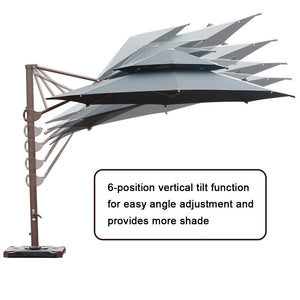 SORARA 11.5ft Cantilever Umbrella Offset Hanging Umbrella(Dual Vent) with CrossBase, Free 4 pcs Base Weight + Waterproof Cover