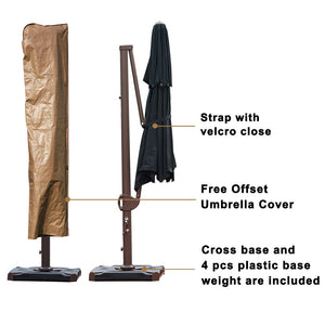 SORARA 11.5ft Cantilever Umbrella Offset Hanging Umbrella(Dual Vent) with CrossBase, Free 4 pcs Base Weight + Waterproof Cover, Beige