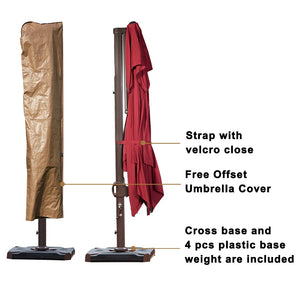 SORARA 10 by 10 ft Square Offset Cantilever Umbrella Patio Hanging Umbrella with Dual Wind Vent, Cross Base & 4 pcs Base Weight and Umbrella Cover
