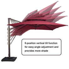 Load image into Gallery viewer, SORARA 10 by 10 ft Square Offset Cantilever Umbrella Patio Hanging Umbrella with Dual Wind Vent, Cross Base & 4 pcs Base Weight and Umbrella Cover