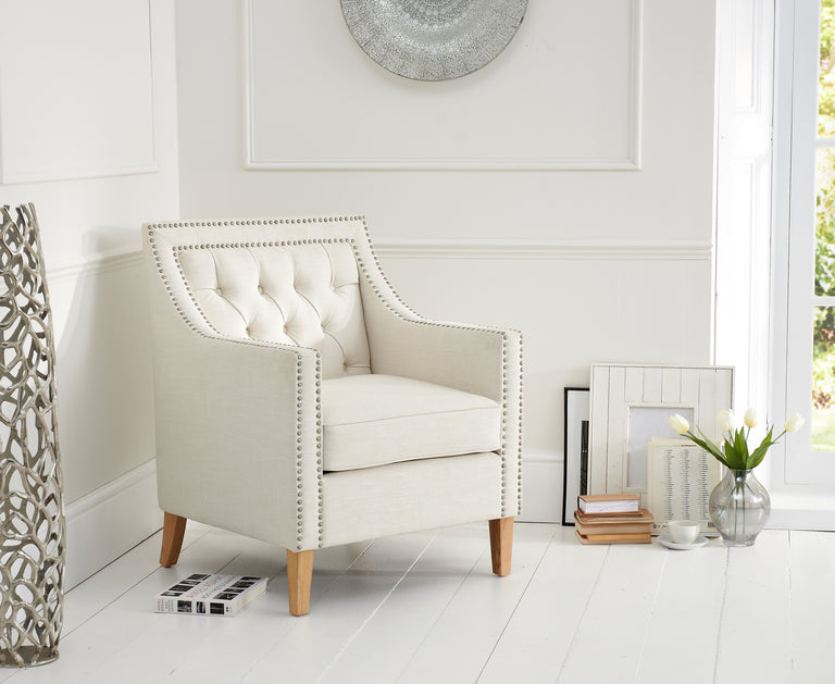 Casa Bella Ivory Fabric Armchair