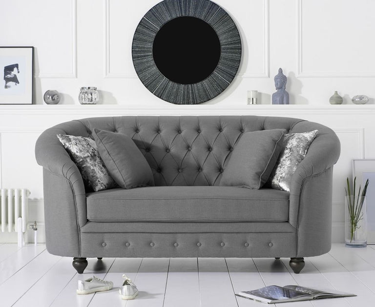 Casey Chesterfield Grey Fabric 2 Seater Sofa
