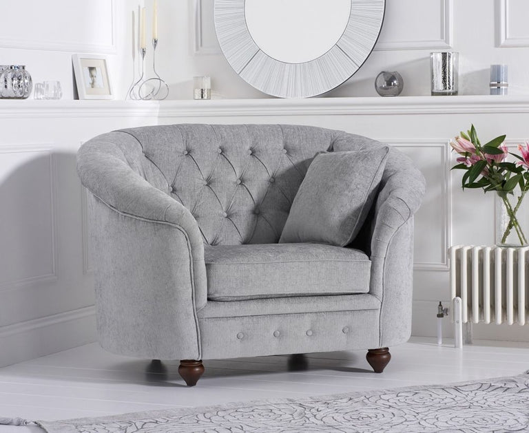 Casey Chesterfield Grey Plush Fabric Armchair
