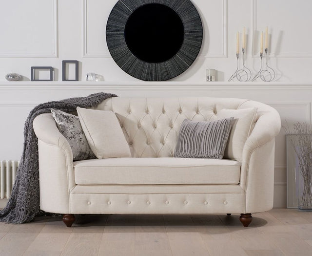 Casey Chesterfield Ivory Fabric 2 Seater Sofa