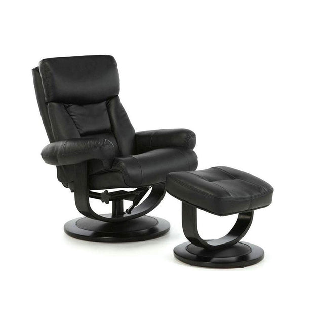 Dublin Black Leather Recliner Chair And Footstool