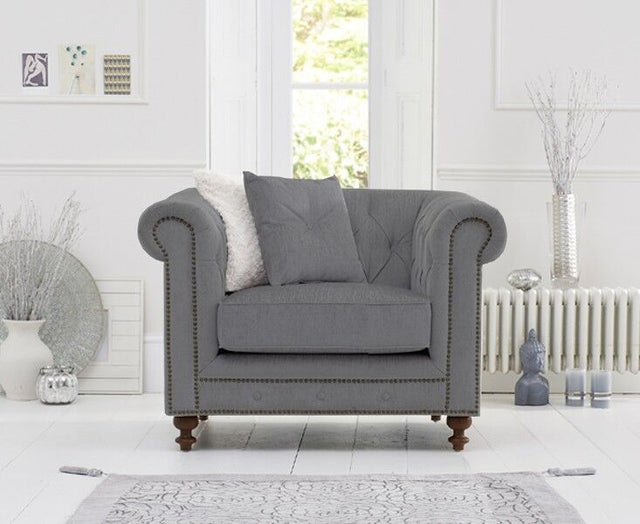 Montrose Grey Linen Fabric Arm Chair