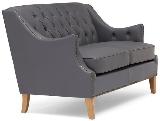 Boleyn Grey Leather 2 Seater Sofa