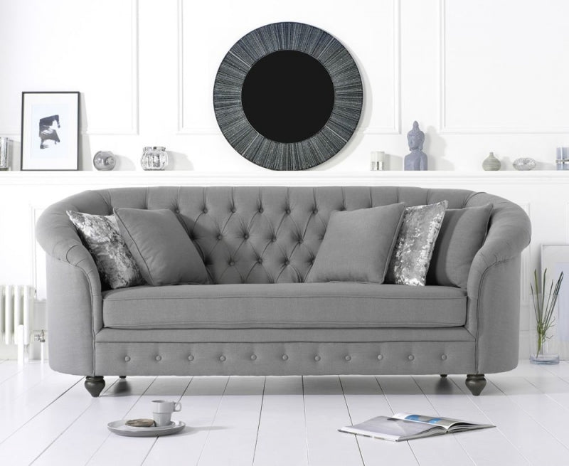 Casey Chesterfield Grey Fabric 3 Seater Sofa Sofari Gb