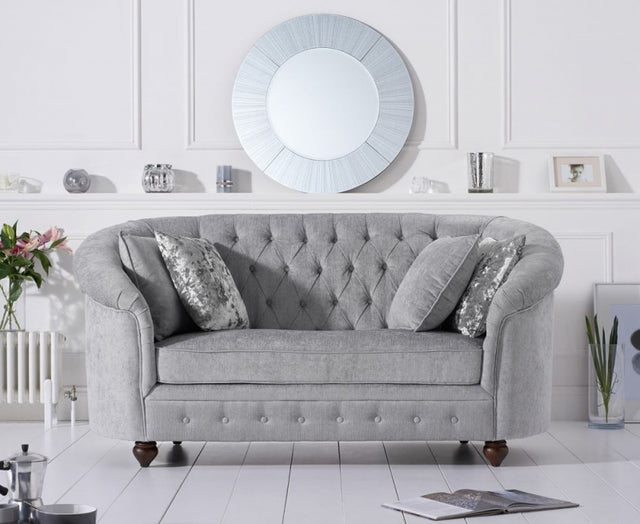 Casey Chesterfield Grey Plush Fabric 2 Seater Sofa
