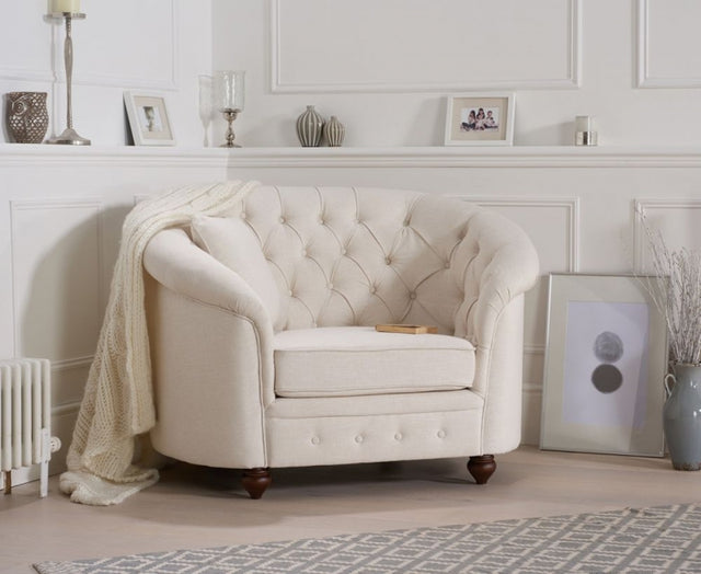 Casey Ivory Chesterfield Style Linen Arm Chair