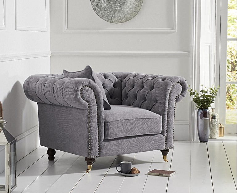 Carrara Chesterfield Grey Linen Armchair