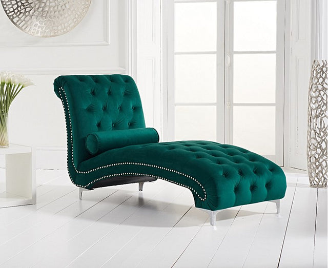 New York Green Velvet Chaise Longues
