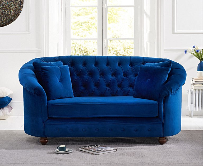 Chloe Chesterfield Blue Plush Fabric Two-Seater Sofa