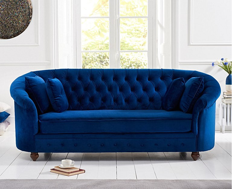 Chloe Chesterfield Blue Plush Fabric Three-Seater Sofa