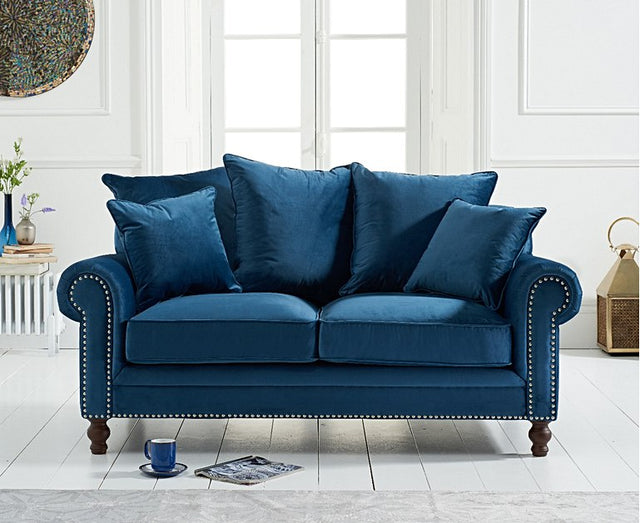 Eliza Blue Velvet 2 Seater Sofa