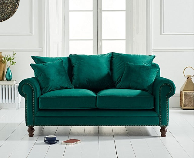 Eliza Green Velvet 2 Seater Sofa