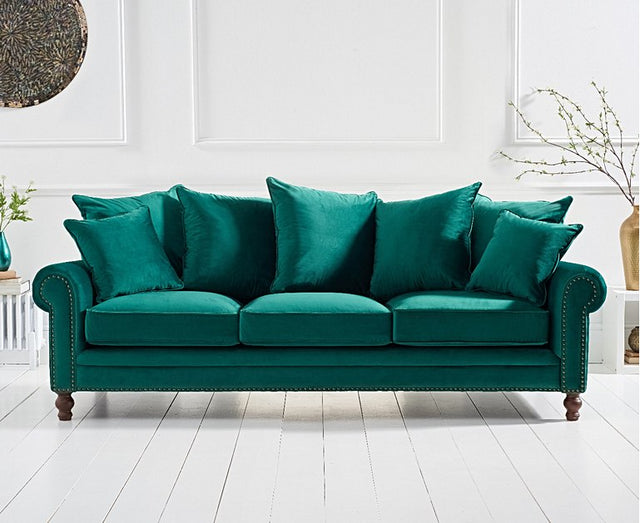 Eliza Green Velvet 3 Seater Sofa