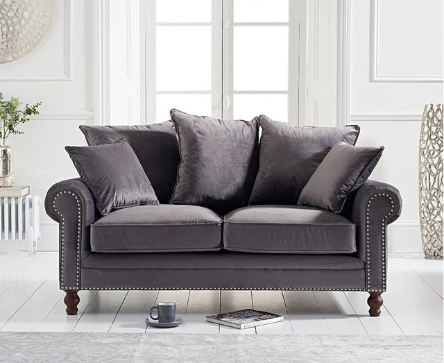 Eliza Grey Velvet 2 Seater Sofa