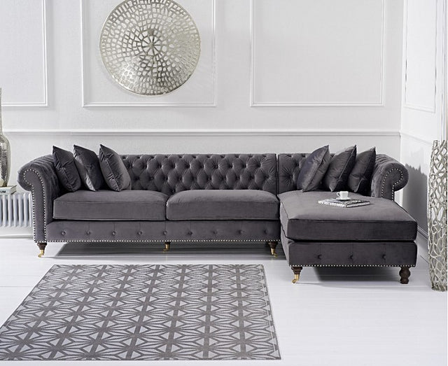 Flora Grey Velvet Right Or Left Facing Chesterfield Chaise Sofa