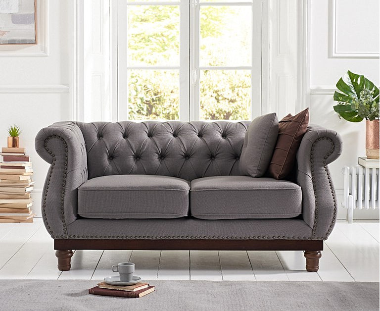 Henbury Chesterfield Grey Linen 2 Seater Sofa