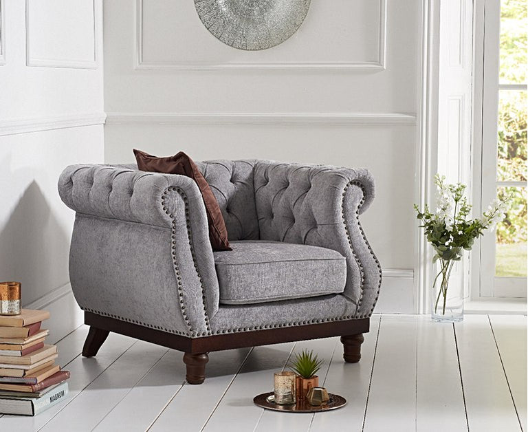 Henbury Chesterfield Grey Plush Fabric Armchair