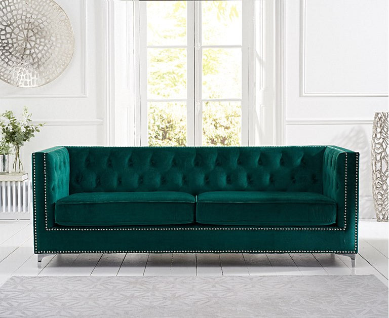 New York Green Velvet 4 Seater Sofa
