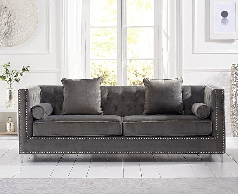 New York Grey Velvet 4 Seater Sofa