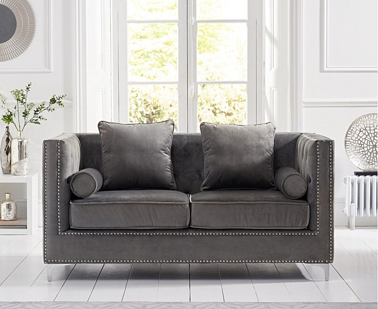 New York Grey Velvet 2 Seater Sofa