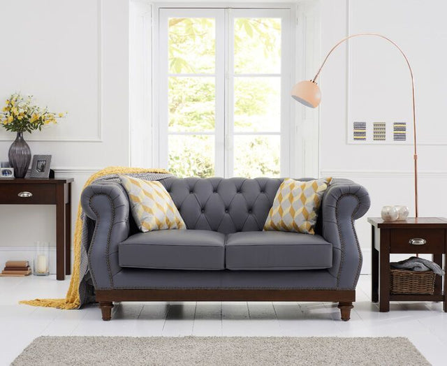 Highgrove Grey Leather 2 Seater Sofa