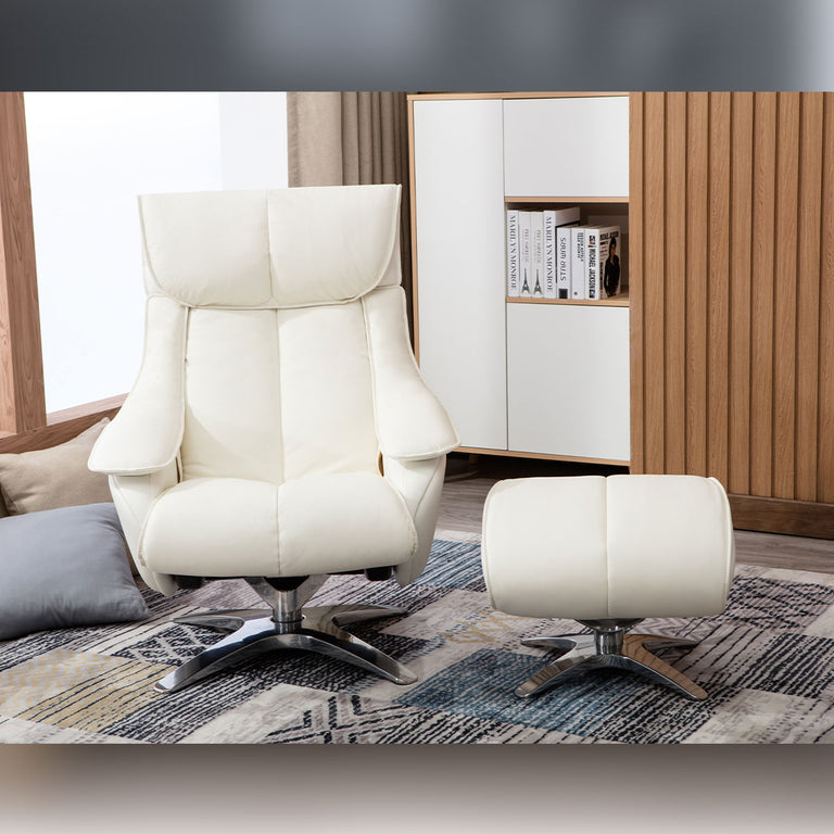 Kensington Real Cow Hide Or Fabric Swivel Recliner Chair And Footstool In Four Colours