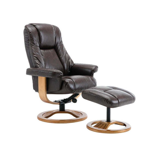Cairns Real Cowhide Leather Swivel Recliner & Footstool