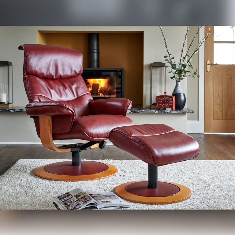 Chartwell Real Cowhide Swivel Recliner Chair and Footstool