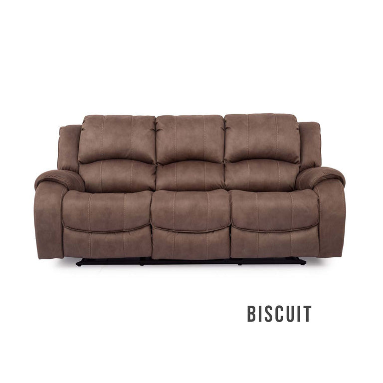 Darwin Fabric 3 Seater Manual Recliner Sofa In Biscuit Or Smoke Colour Fabric