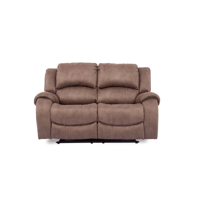 Darwin Fabric 2 Seater Manual Recliner Sofa In Biscuit Or Smoke Colour Fabric