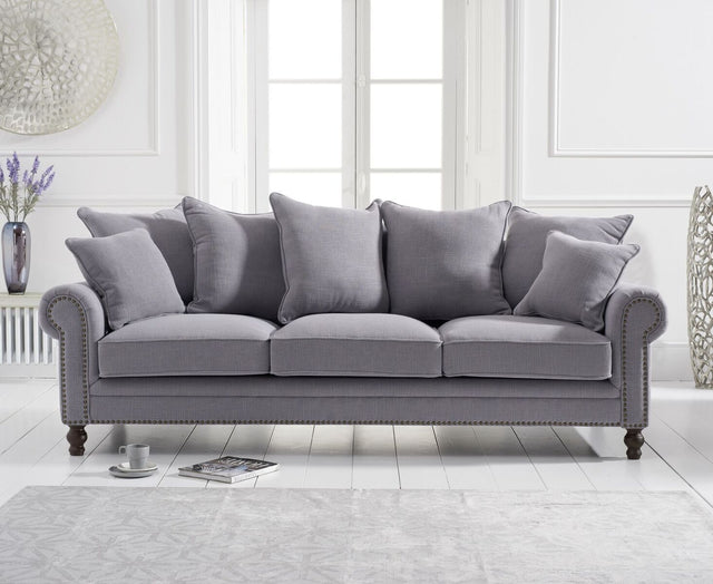 Eliza Grey Linen 3 Seater Sofa