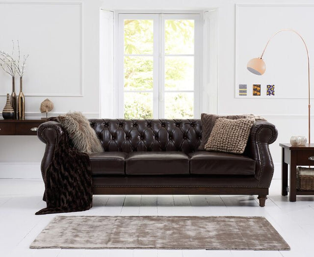 Highgrove Brown Leather 3 Seater Sofa