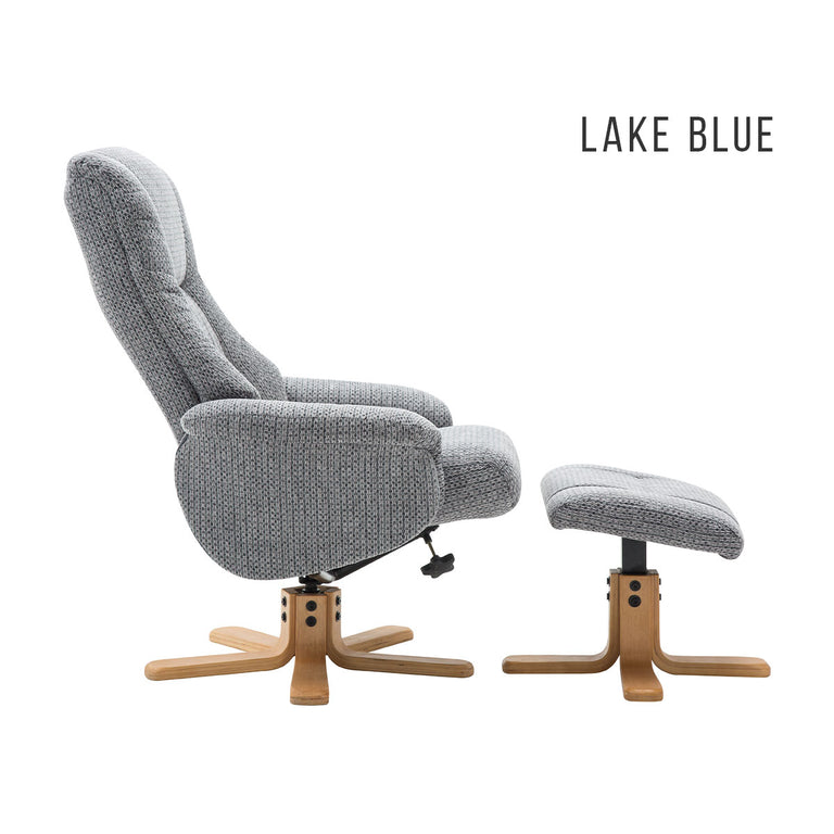 Florida Swivel Recliner and Footstool In Two Fabric Colours