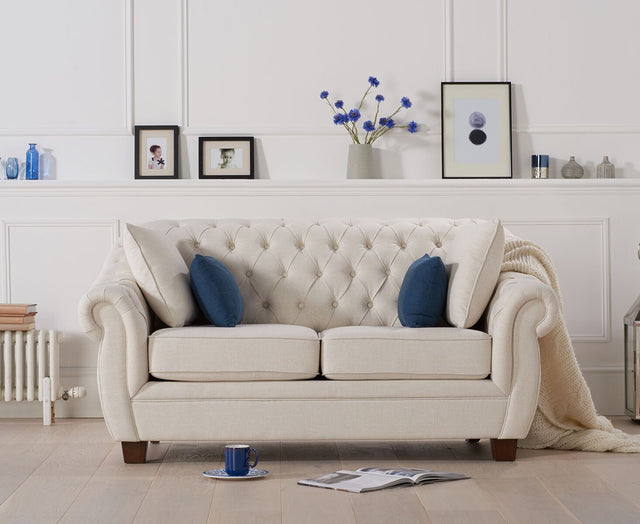 Liv Chesterfield Ivory Fabric 2 Seater Sofa