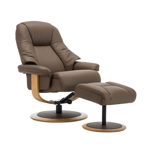 Jersey Swivel Recliner Chair and Footstool In Real Cowhide Leather And Fabric