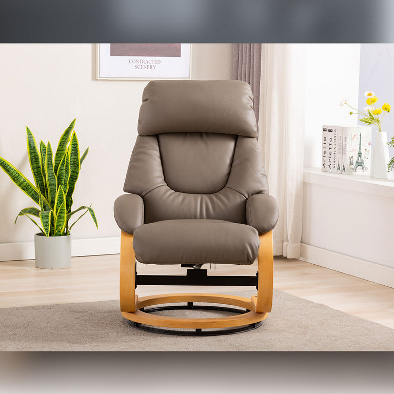 Livia Swivel Recliner & Footstool In Variety Of Plush Fabric Colours
