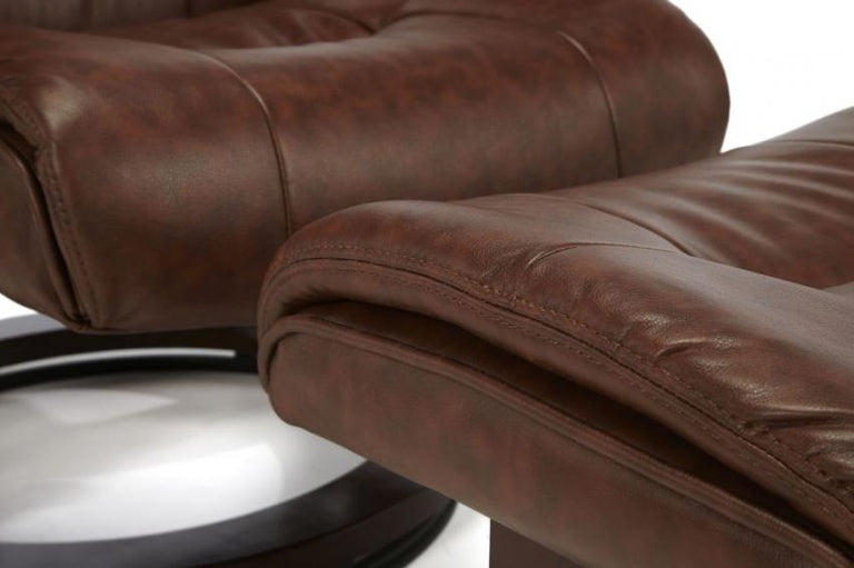 Canberra Chestnut Faux Soft Leather Recliner Chair And Footstool