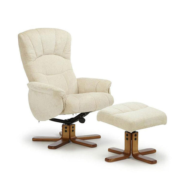 Southwold Cream Cotton Fabric Recliner Chair And Footstool