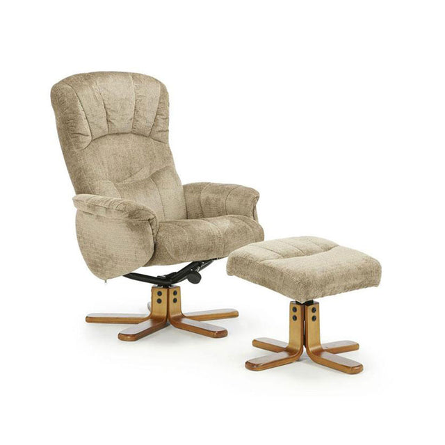 Southwold Mink Cotton Fabric Recliner And Footstool