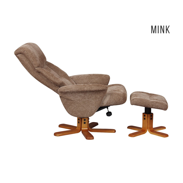 Marseille Swivel Recliner Chair and Footstool