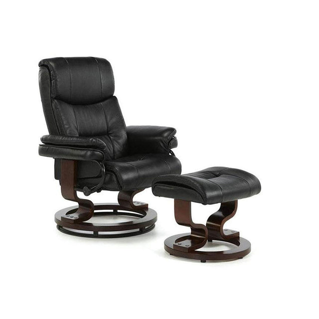 Canberra Black Faux Soft Leather Recliner Chair And Footstool